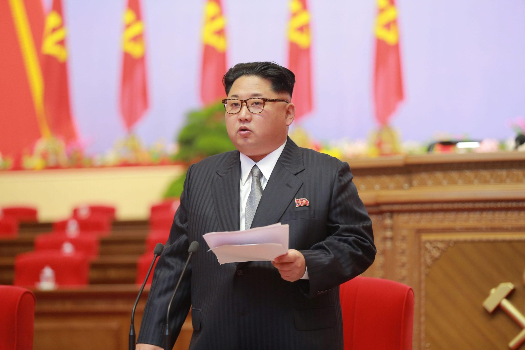 North Korean leader Kim Jong Un speaks during the first congress of the country's ruling Workers' Party in 36 years in Pyongyang
