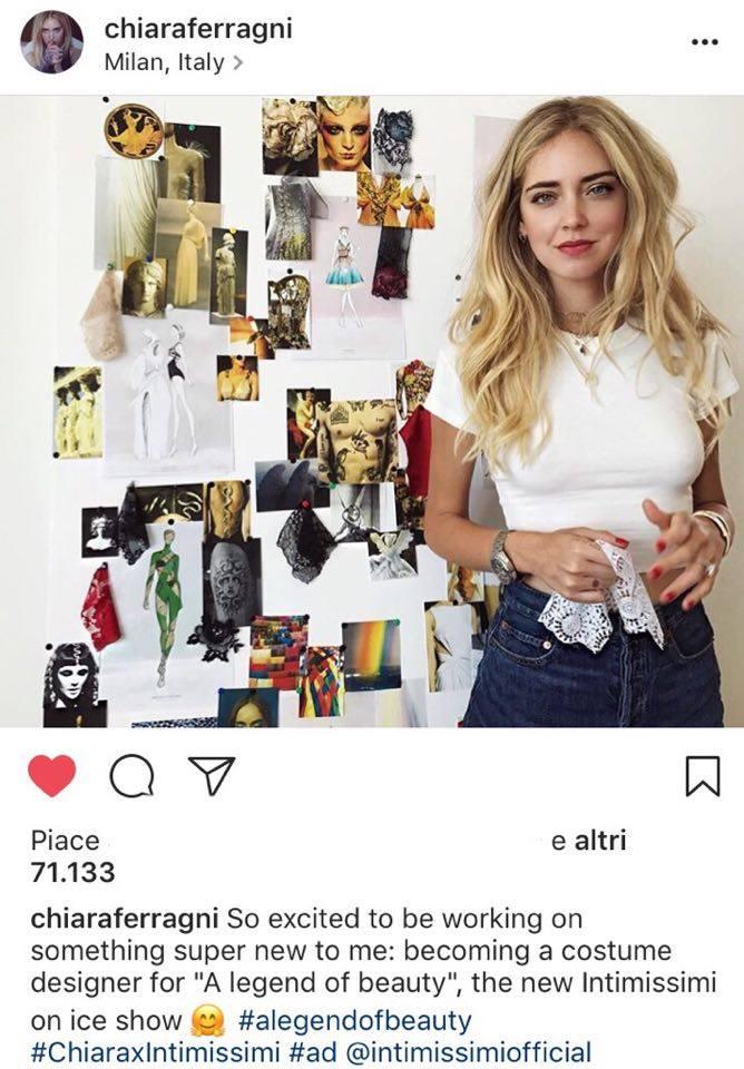 Chiara Ferragni costume designer per Intimissimi On Ice 2017