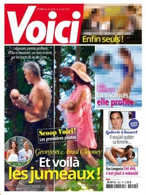 George Clooney, le prime foto dei gemellini e scatta la querela per Voici [FOTO]