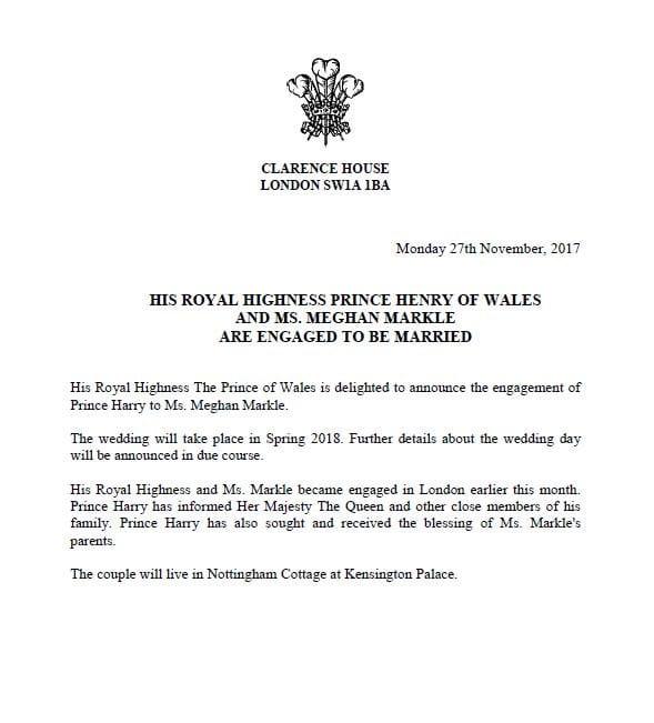 """Principe Harry e Meghan Markle: """"Questo matrimonio s'ha da fare"""", l'annuncio ufficiale [FOTO]"""