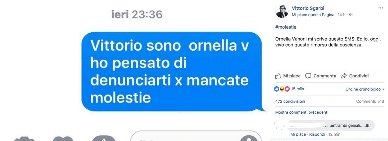 Molestie sessuali, il messaggio shock di Ornella Vanoni su Vittorio Sgarbi