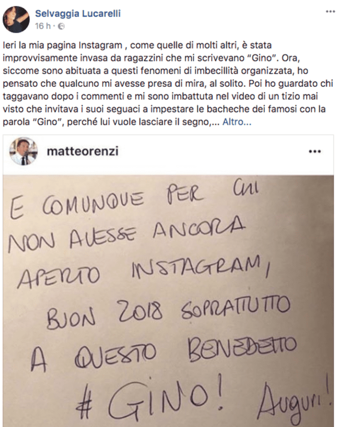 """Instagram, """"Gino"""" l'ultimo tormentone del 2017 che ha conquistato i social [FOTO]"""
